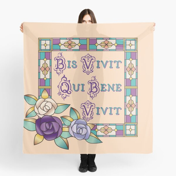 Life Well Lived Latin Stained Glass Hand-Drawn Roses Scarf