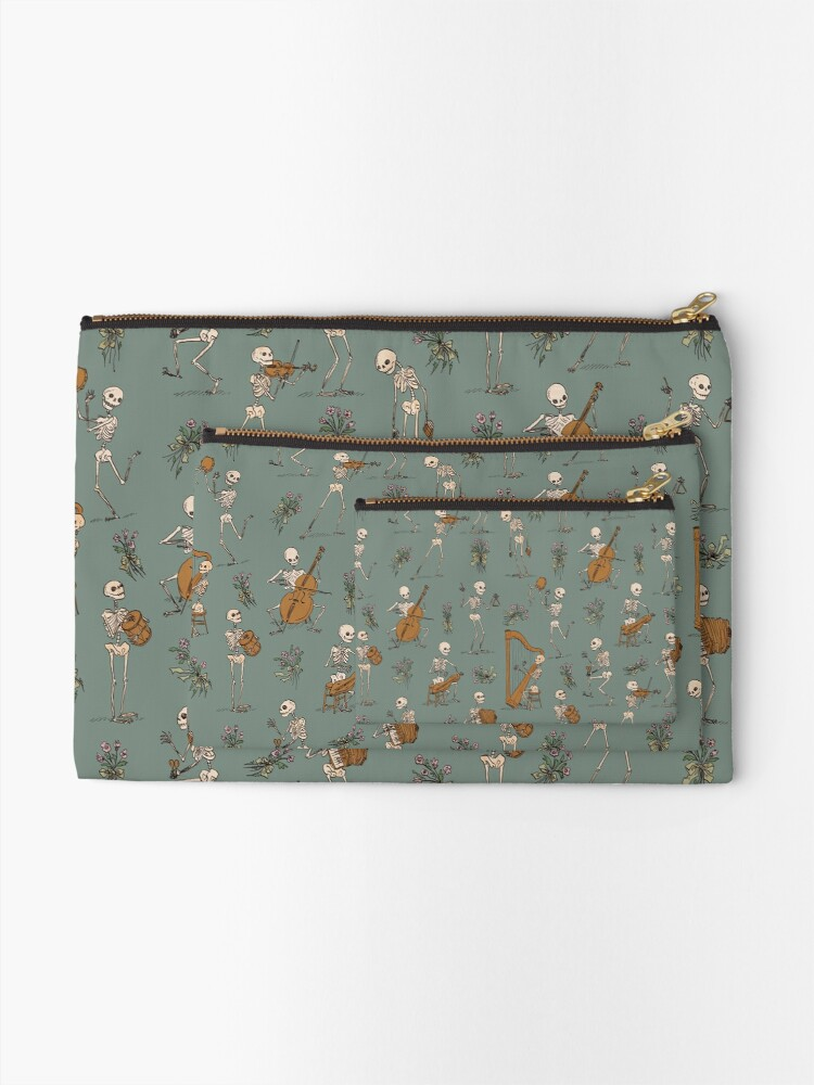 Alternate view of Skeleton orchestra Zipper Pouch