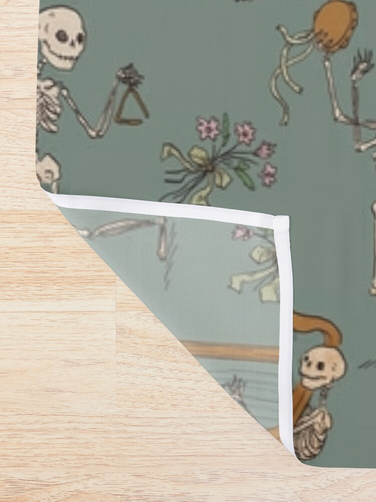 Alternate view of Skeleton orchestra Shower Curtain