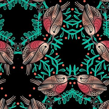 Christmas Robins and Berries Pattern by HelenAldous