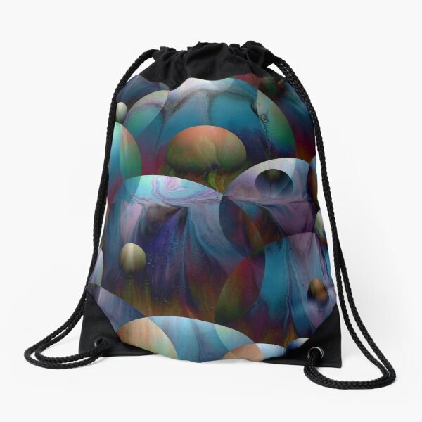 Orbs 2: round spheres abstract Drawstring Bag