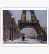 Eiffel tower in the snow Sticker