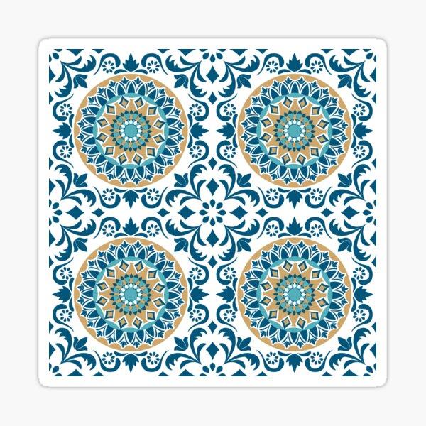 Blue, white and mustard ornate tile Sticker
