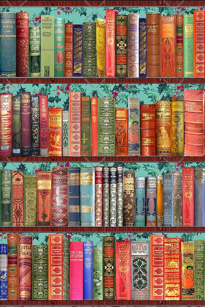Christmas vintage books, holly  by MagentaRose
