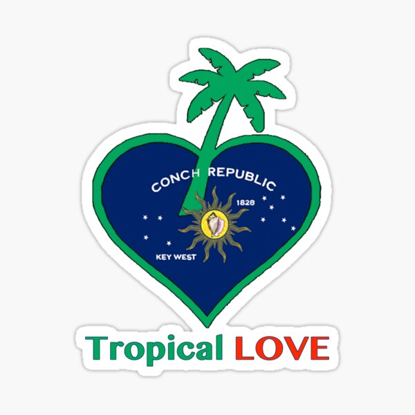 Key West Conch RepublicTropical Love Sticker