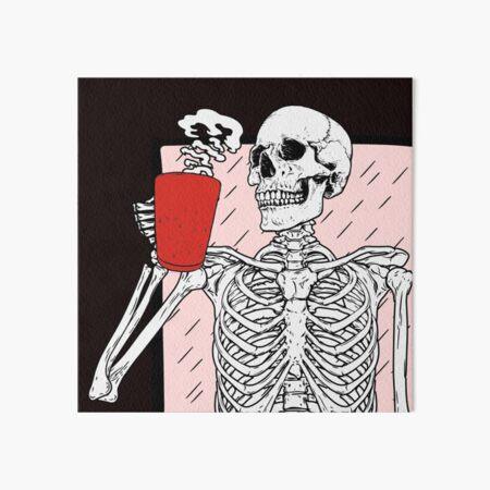 Skeleton Drinking Coffee Art Board Print