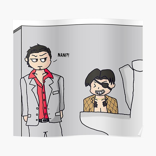majima everywhere: bathroom stall Poster