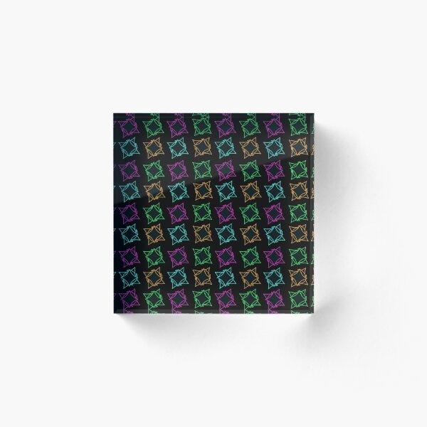 Motif étoiles filaire noire de couleurs  multicolore sur fond noir  Bloc acrylique