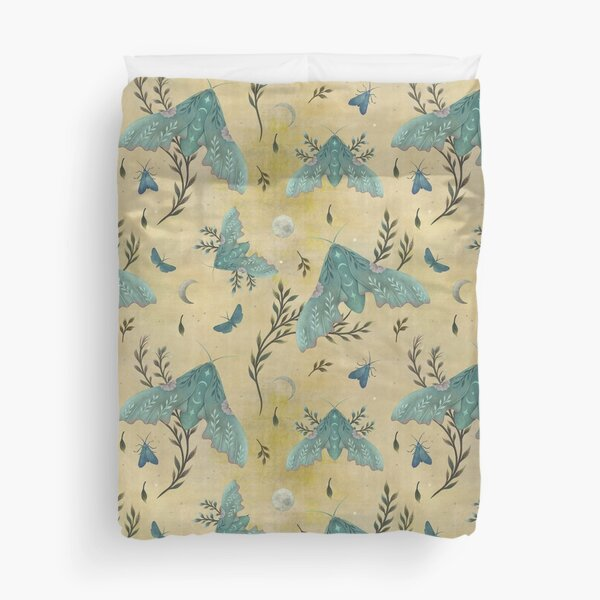 Luna and Moth - Oriental Vintage Duvet Cover