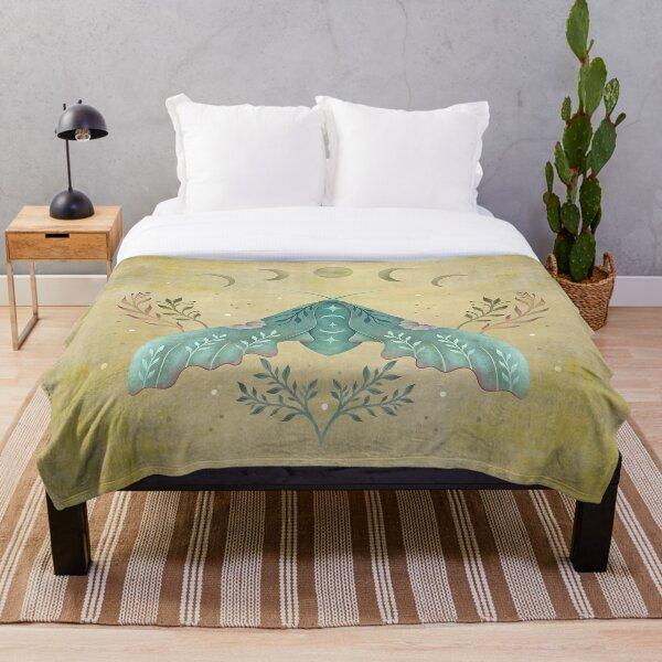 Luna and Moth - Oriental Vintage Throw Blanket