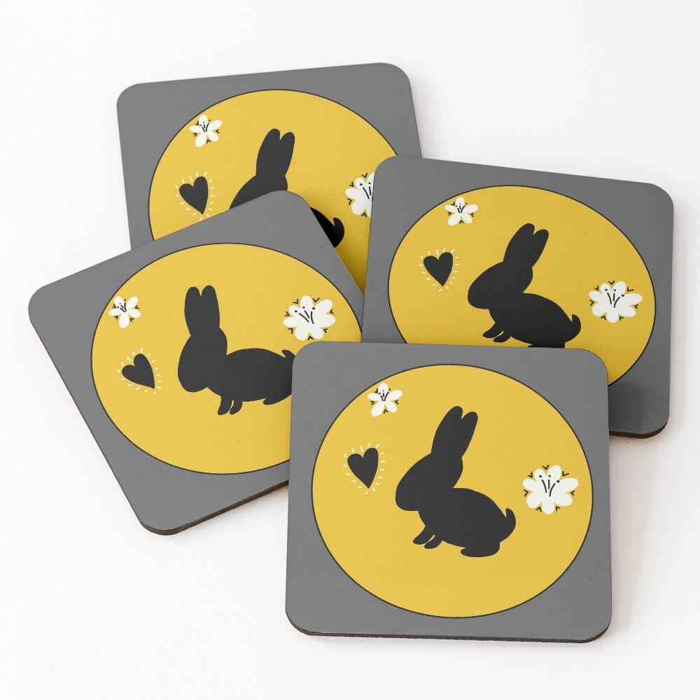 Bunny Rabbit Goldenrod Flower Circle Coasters (Set of 4)