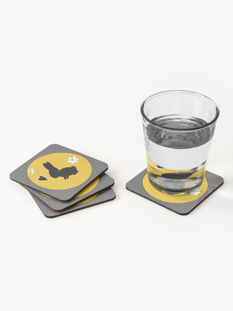Alternate view of Bunny Rabbit Goldenrod Flower Circle Coasters (Set of 4)