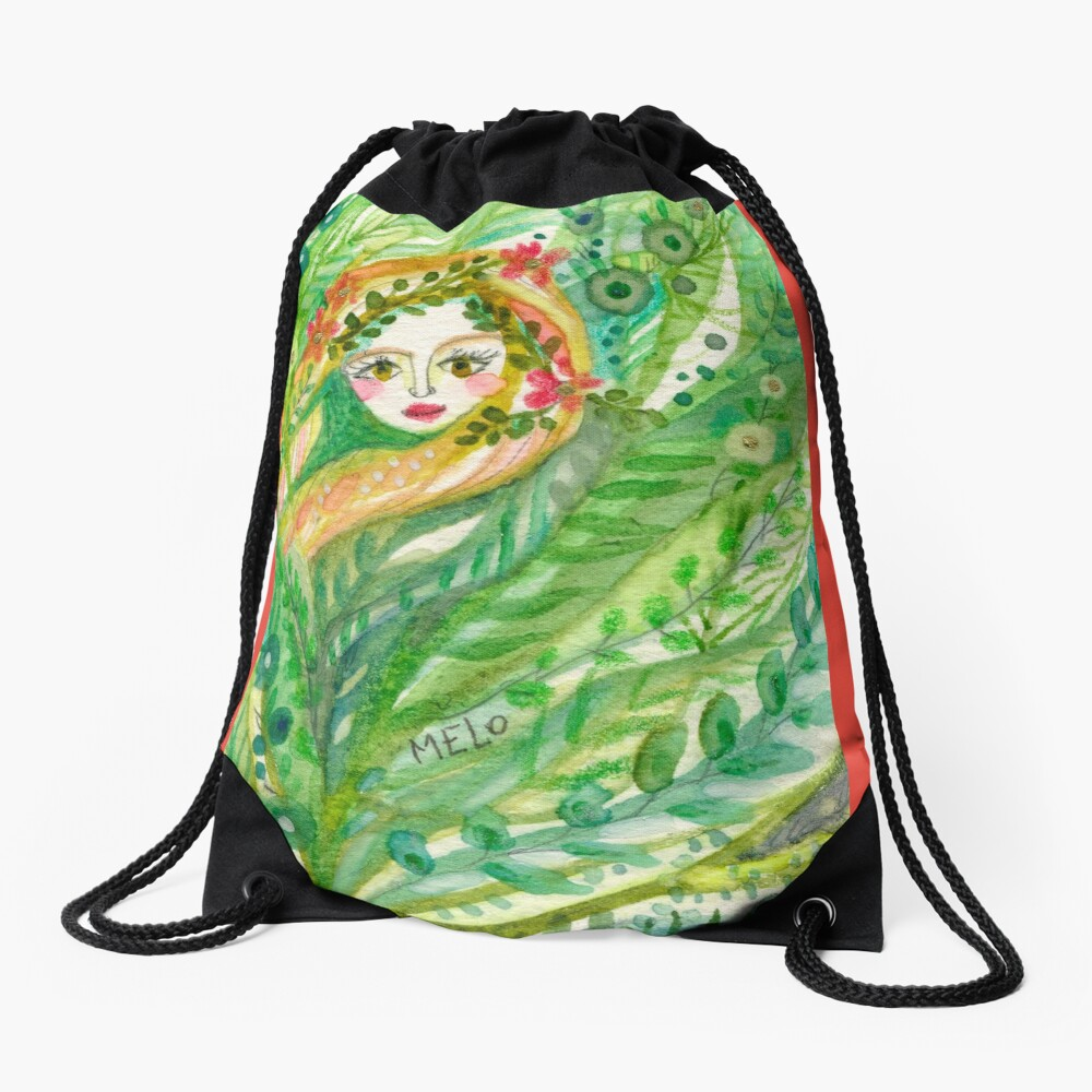 Hidden Mermaid Drawstring Bag