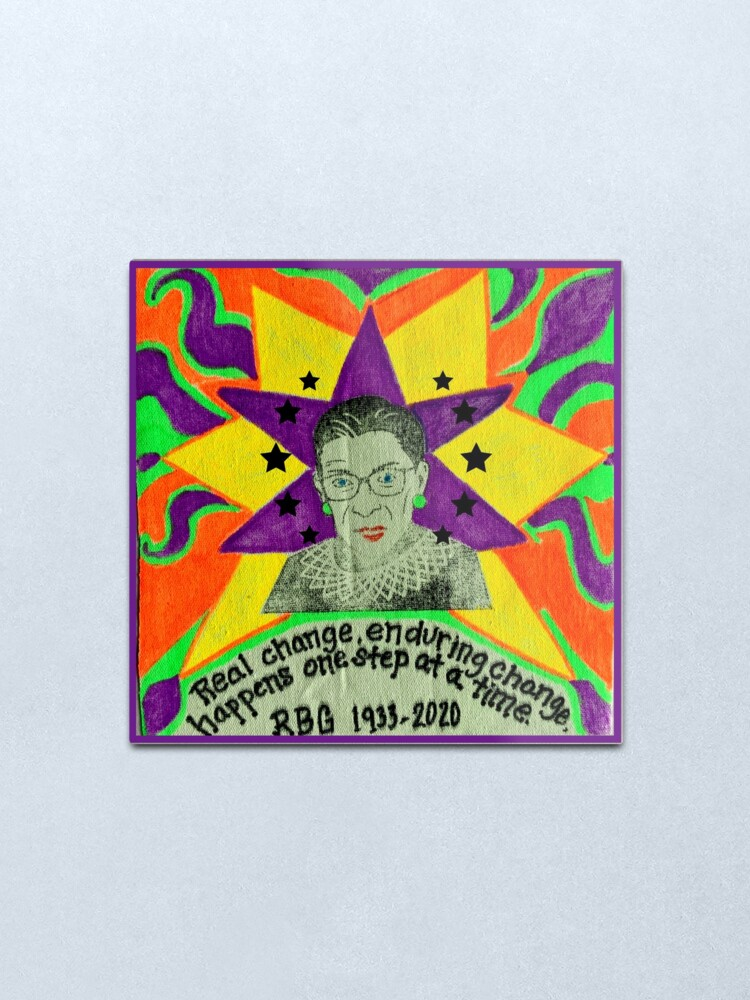 Alternate view of Ruth Bader Ginsburg with quote Metal Print