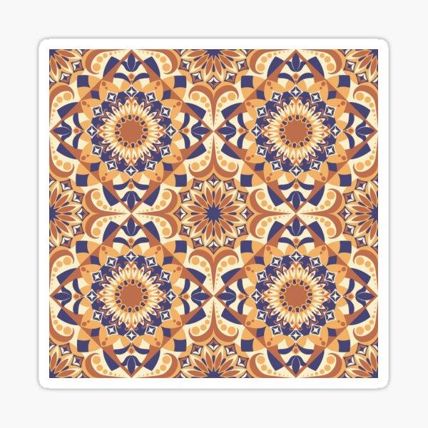 Orange and Purple Retro Psychedelic Kaleidoscope Tile Sticker