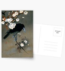 Vintage Japanese Crow and Blossom Woodblock Print Postcards