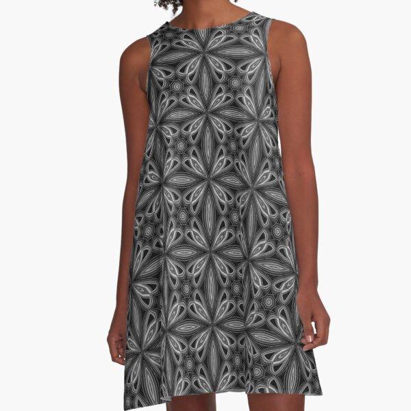 Black Spring Floral A-Line Dress