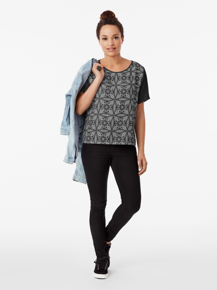 Alternate view of Black Spring Floral Chiffon Top