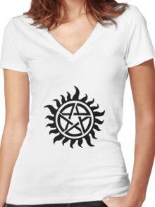 Supernatural Demon Possession Protection [BLACK] Women's Fitted V-Neck T-Shirt