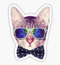 Hipster Cat with Glasses and Bow Tie Sticker Sticker