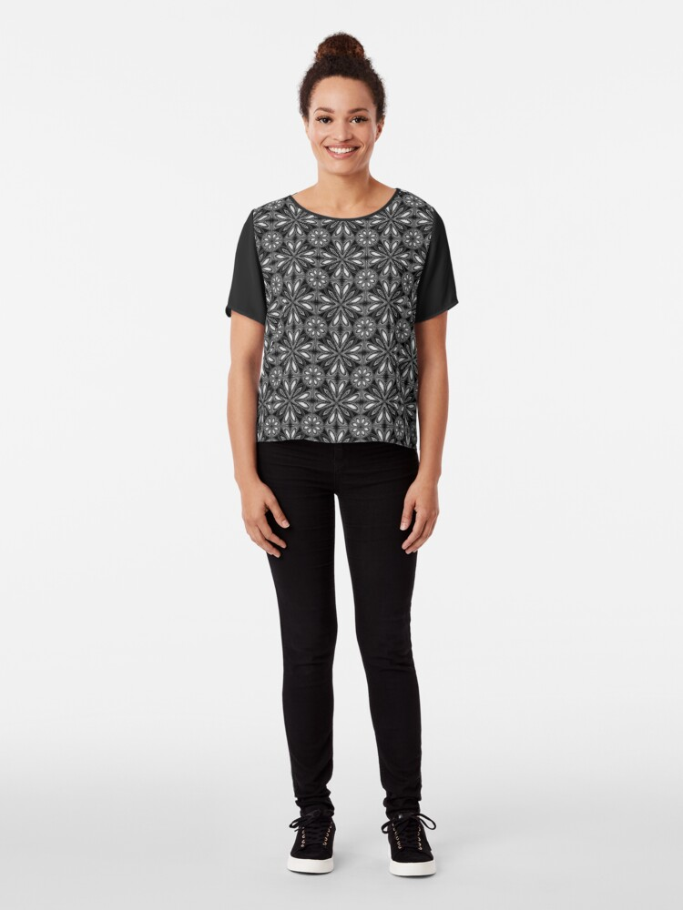 Alternate view of Black Spring Floral 02 Chiffon Top