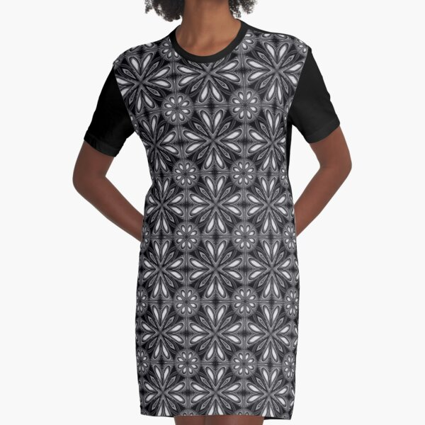 Black Spring Floral 02 Graphic T-Shirt Dress