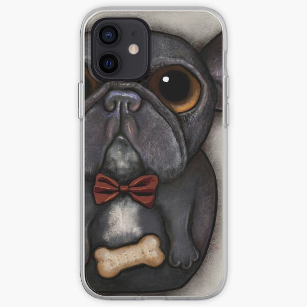 Black french bulldog with bow tie and bone treat iPhone Soft Case