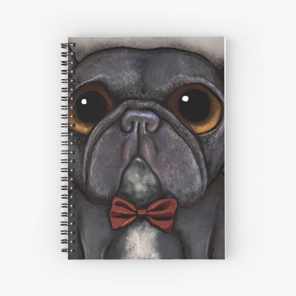 Black french bulldog with bow tie and bone treat Spiral Notebook