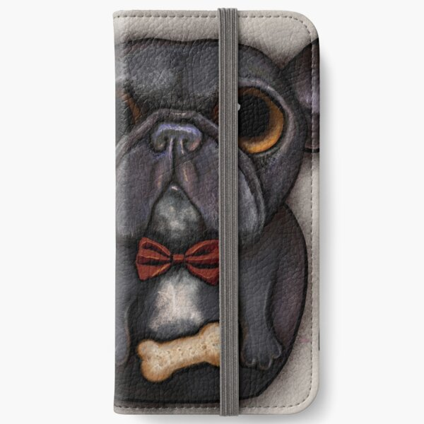 Black french bulldog with bow tie and bone treat iPhone Wallet