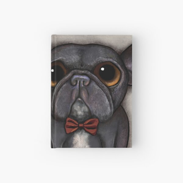 Black french bulldog with bow tie and bone treat Hardcover Journal