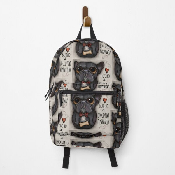 Black french bulldog with bow tie and bone treat Backpack