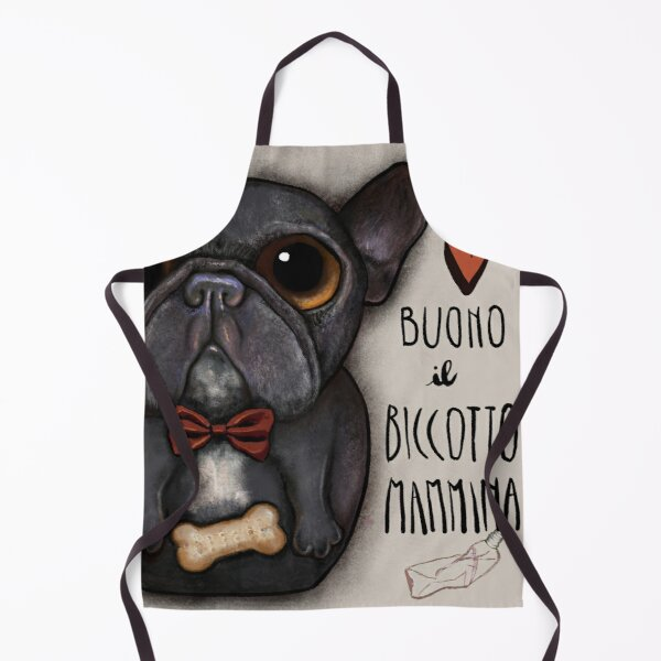 Black french bulldog with bow tie and bone treat Apron