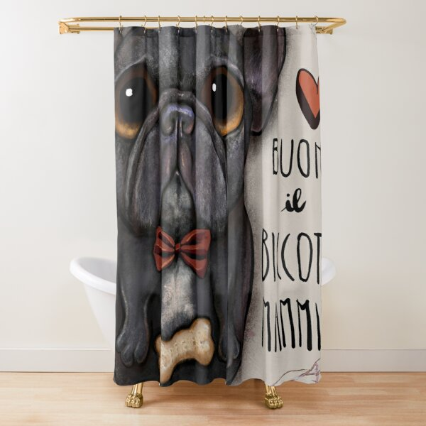 Black french bulldog with bow tie and bone treat Shower Curtain