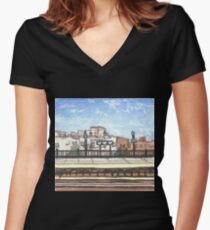 brooklyn subway station Women's Fitted V-Neck T-Shirt