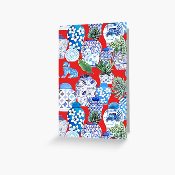 ginger jars in blue and white porcelain  and foo dogs on red with palms Greeting Card