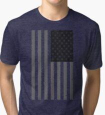 American Flag - Black and White Tri-blend T-Shirt