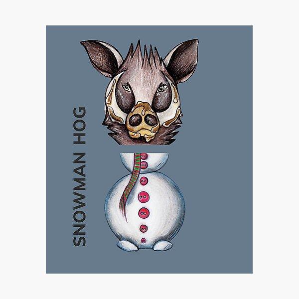 SNOWMAN HOG by FrankenDuo tsunami grey Photographic Print