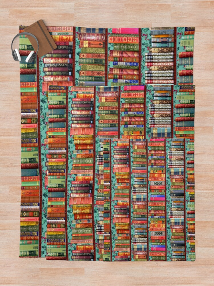 Alternate view of Christmas vintage books, holly  Throw Blanket