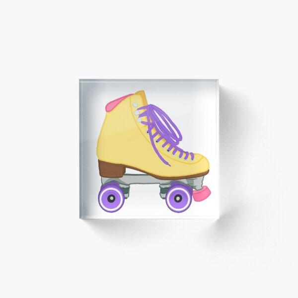 Pastel Yellow Rollerskate yellow pink purple Acrylic Block