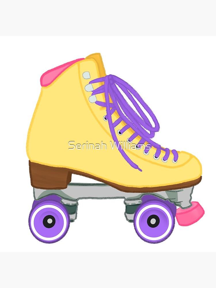 Pastel Yellow Rollerskate yellow pink purple by rinah13art
