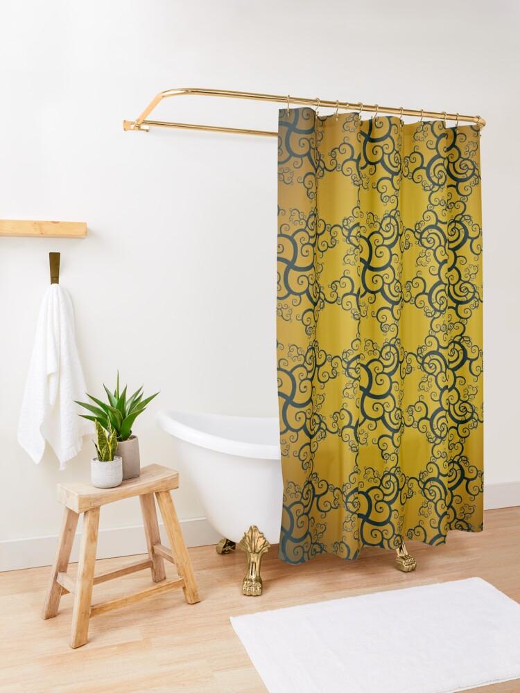 Alternate view of Swirl Damask Shower Curtain