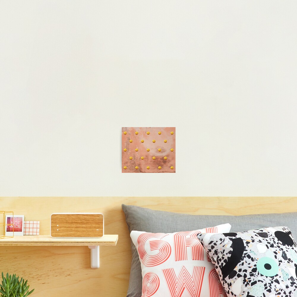 Beige concrete texture with golden polka dots Photographic Print