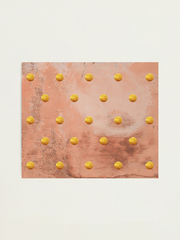 Alternate view of Beige concrete texture with golden polka dots Photographic Print