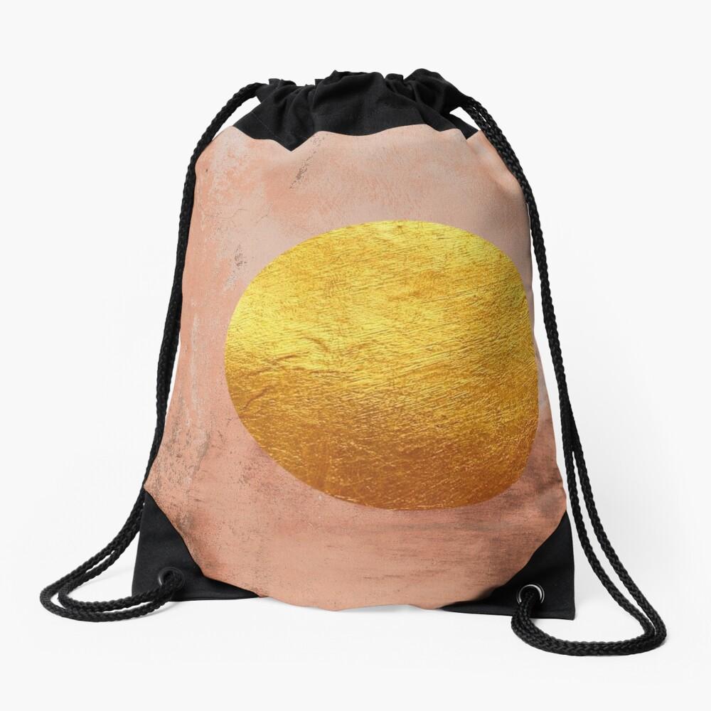 Beige concrete texture with golden moon Drawstring Bag