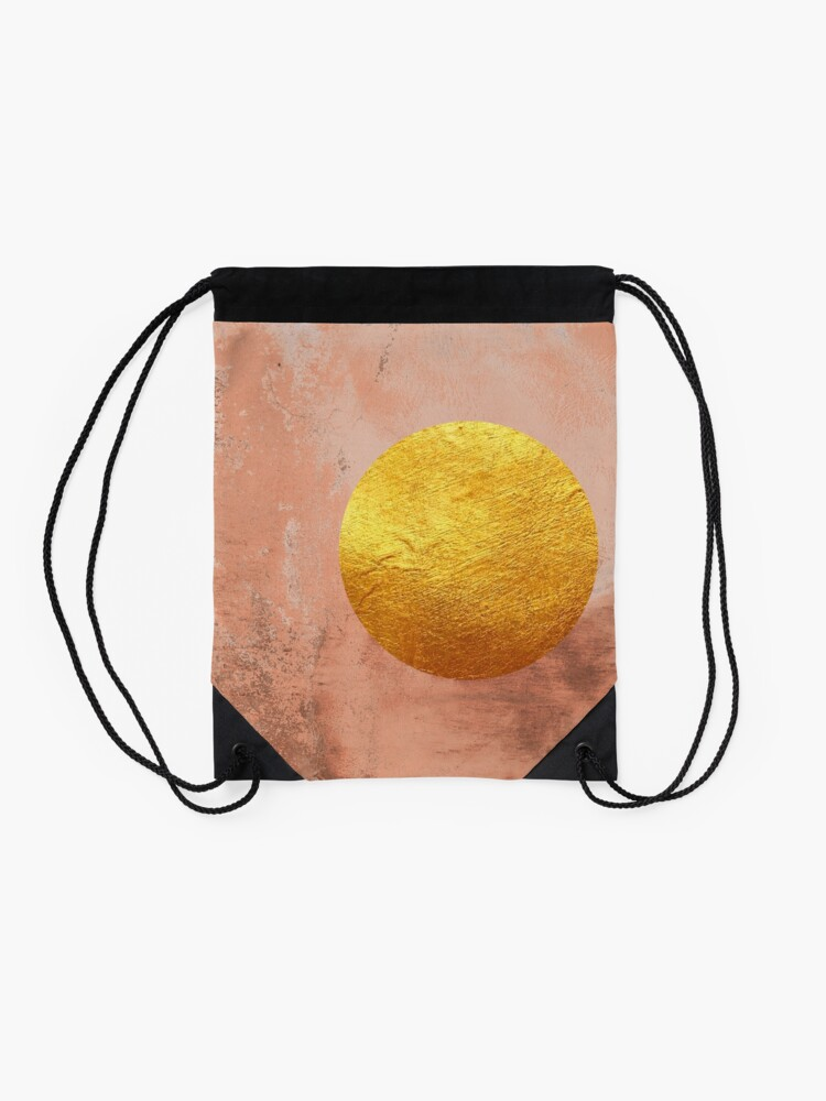 Alternate view of Beige concrete texture with golden moon Drawstring Bag