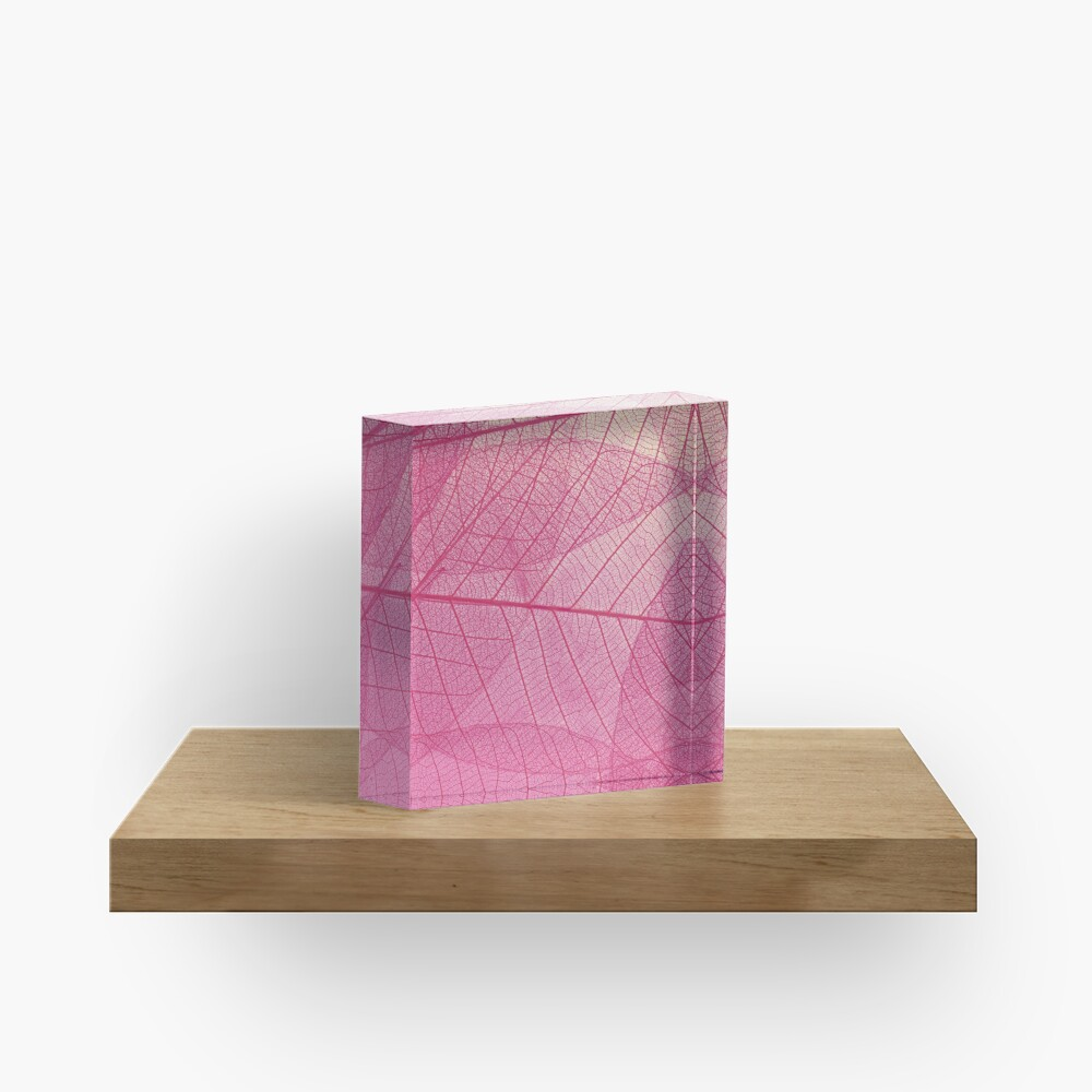 Pink leaves Acrylic Block