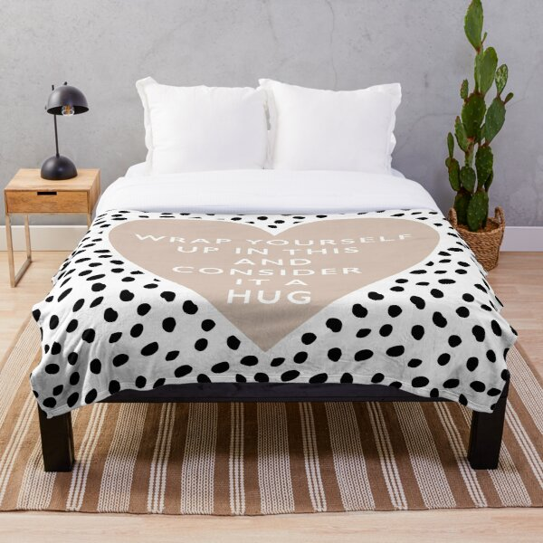 Wrap yourself up and consider this a hug Dalmatian black and white spots and dots with a boho heart throw blanket Throw Blanket