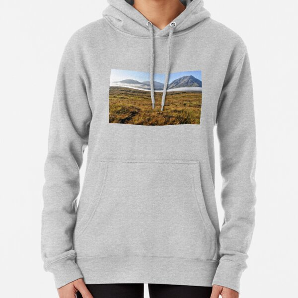 Glencoe early morning light with low lying mist Pullover Hoodie