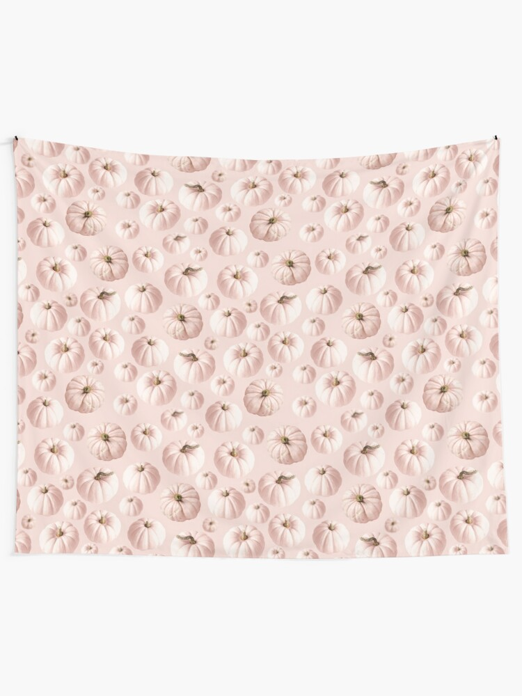 Alternate view of Pink pumpkin photo and pattern Tapestry
