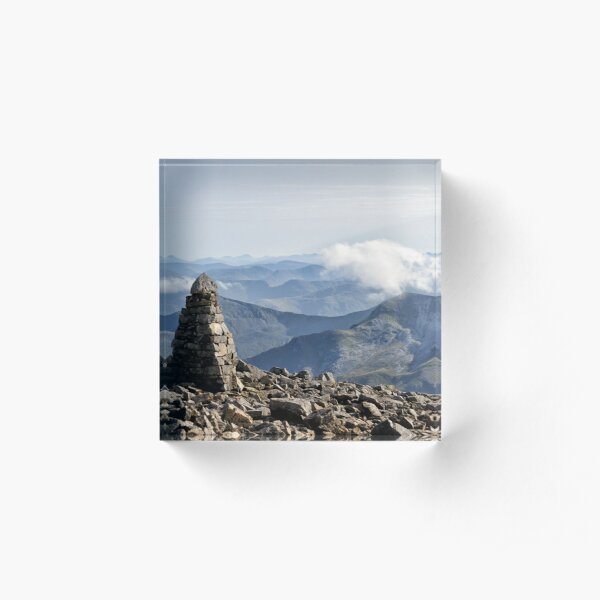 Climber passes a cairn on the summit of Ben Nevis Acrylic Block
